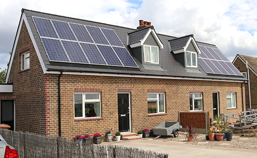 Photo of our Energiesprong pilot home, showing solar panels on the roof in Maldon, Essex.
