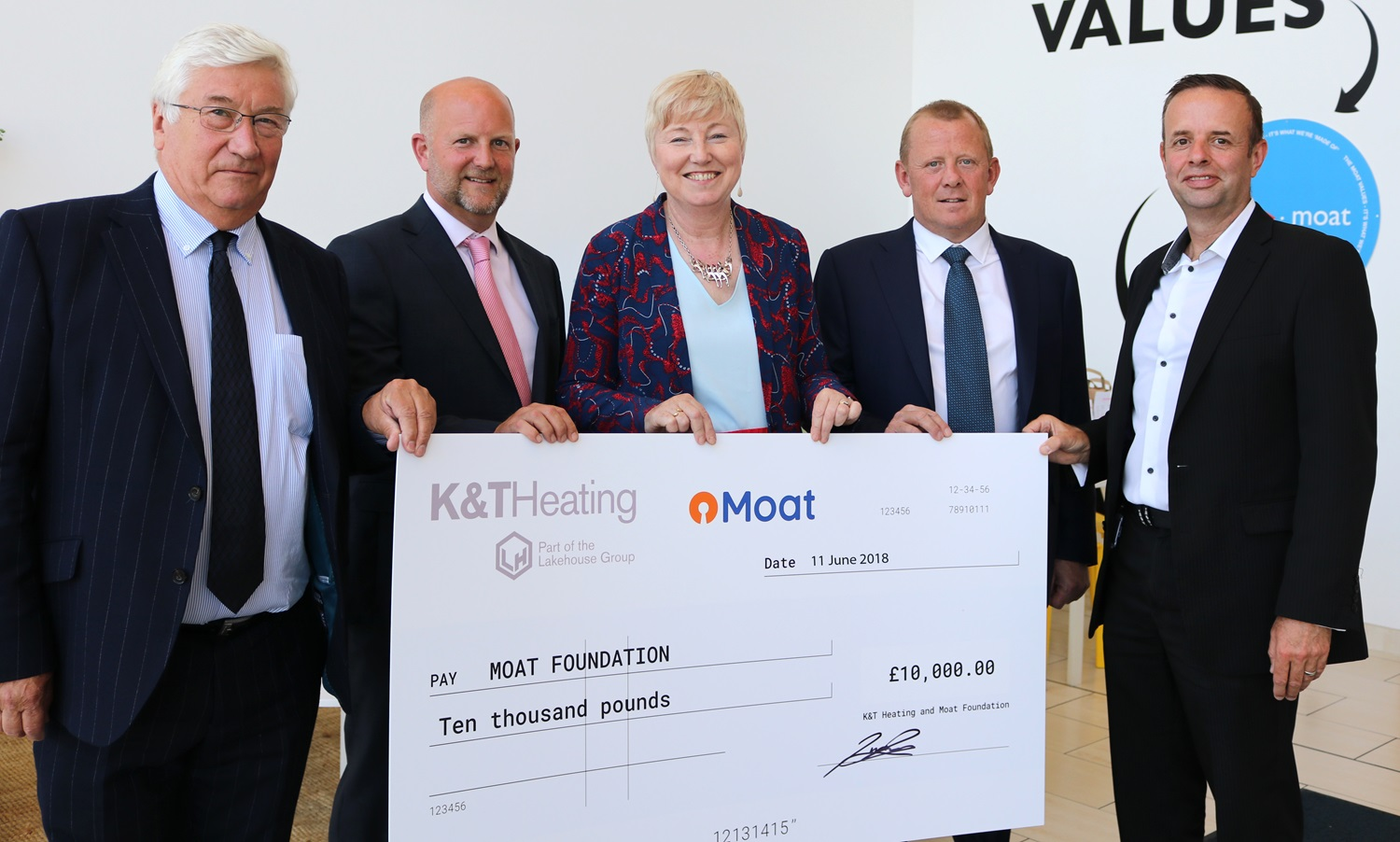Cheque presentation from K&T Heading to Moat Foundation
