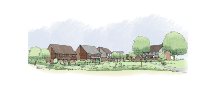Artist impression of homes to be built in Yalding